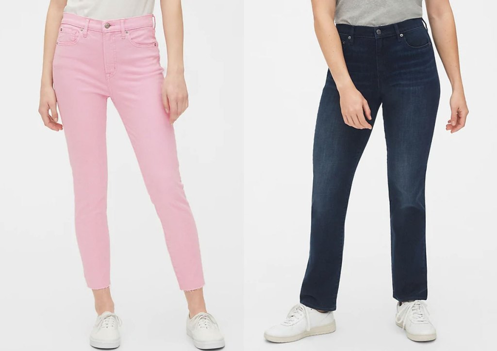 two women modeling jeans in pink and dark wash colors
