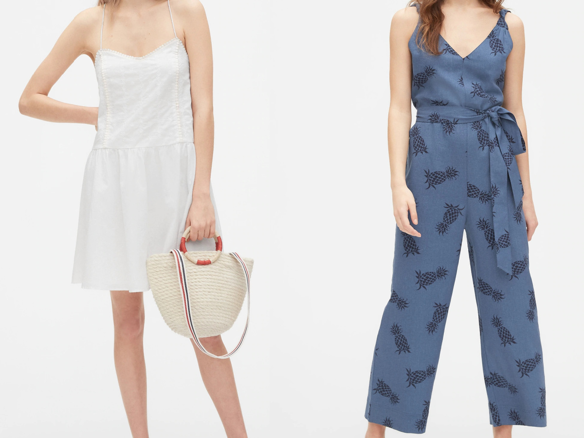 woman in white cami dress and woman in blue sleeveless jumpsuit