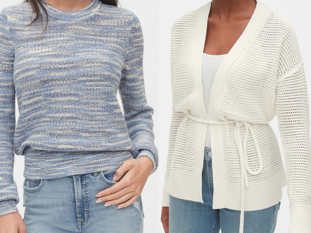 woman in blue patterned sweater and woman in cream cardigan