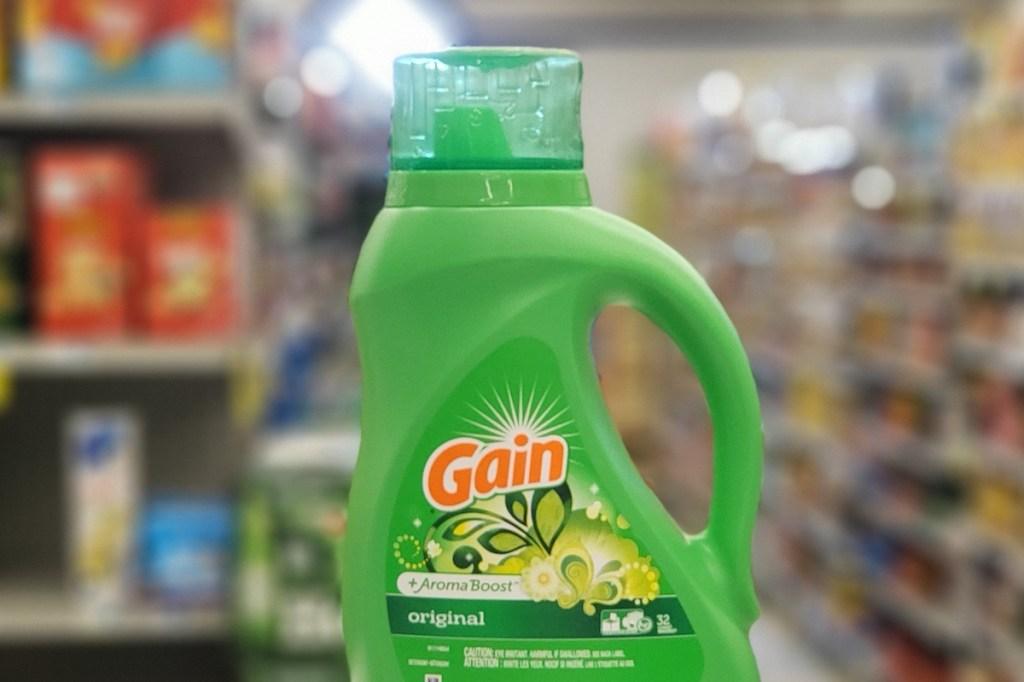 bottle of Gain laundry detergent