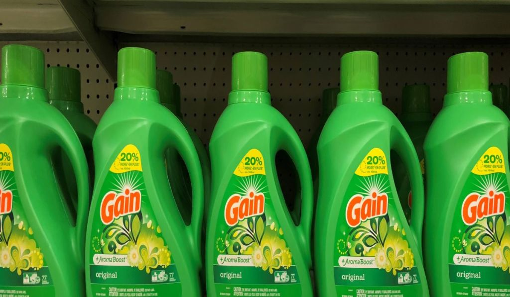 Gain laundry detergent on a shelf