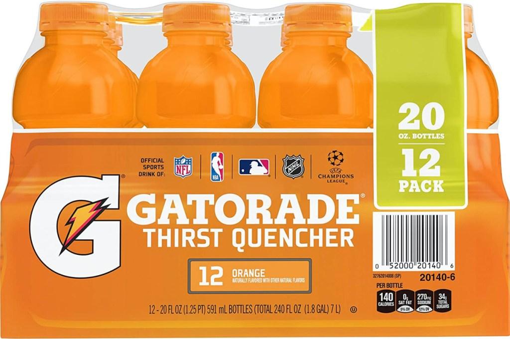 case of 12 orange sports drinks