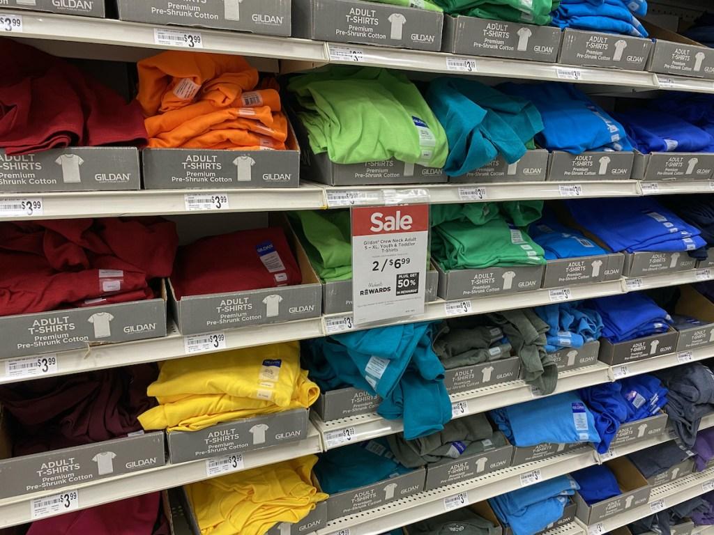 multiple colored Gildan T-Shirt on wall Wall Michaels