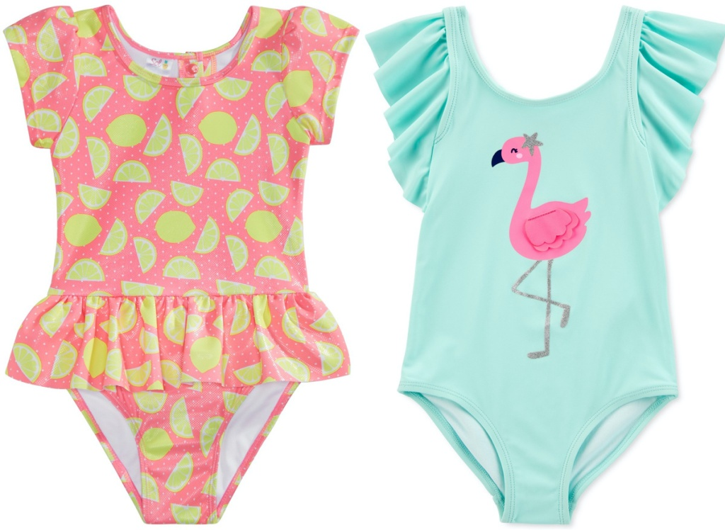 girls pink lemon print swimsuit and girls blue flamingo swimsuit