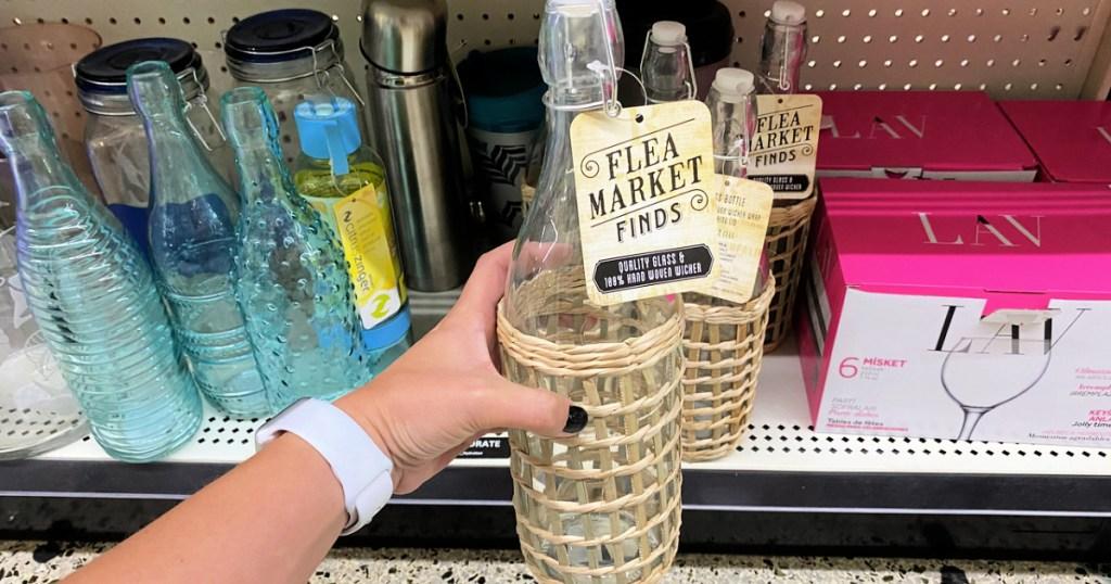 Glass Bottles w/ Wicker Wrap in Dollar General
