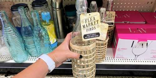 Chic Glass Bottles w/ Wicker Wrap Only $5 at Dollar General | Pottery Barn Look-Alike