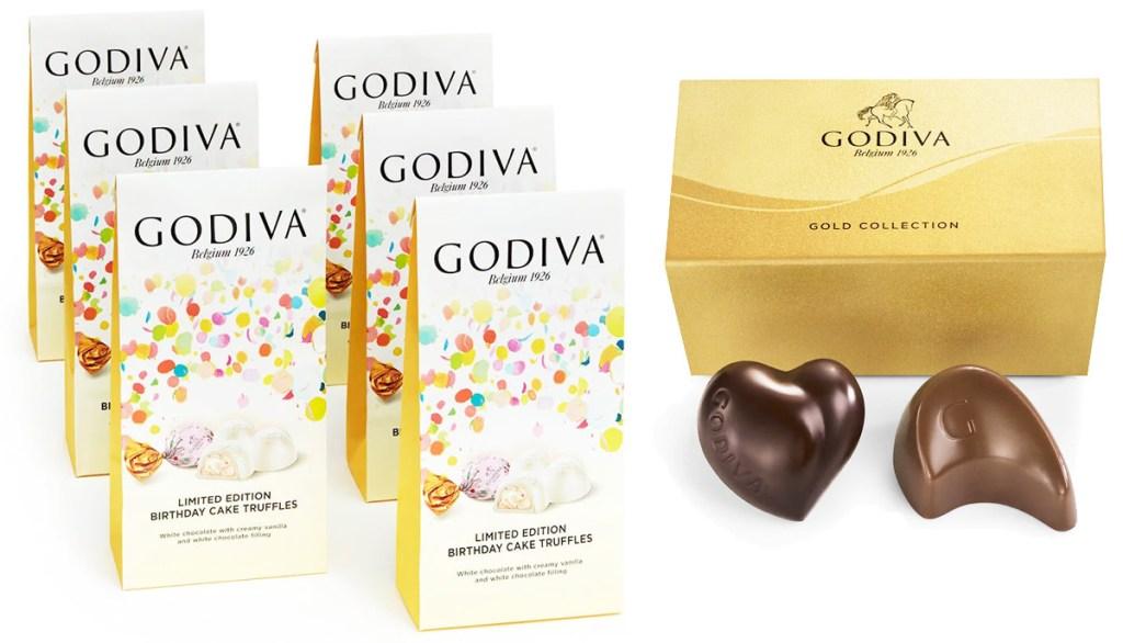 six bags of godiva birthday cake truffles and gold box of two chocolates