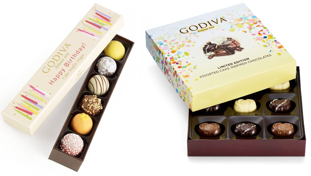 flight of assorted godiva birthday truffles and box of chocolates