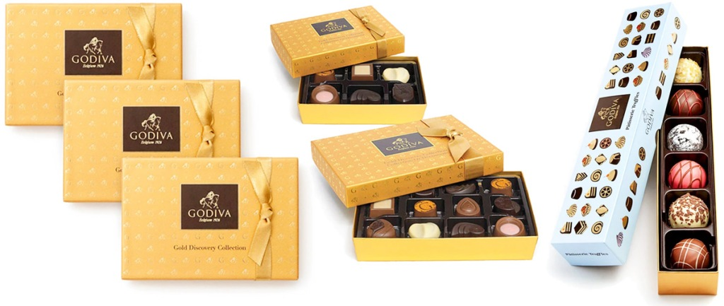 five govia gold boxes of chocolates and blue truffle flight