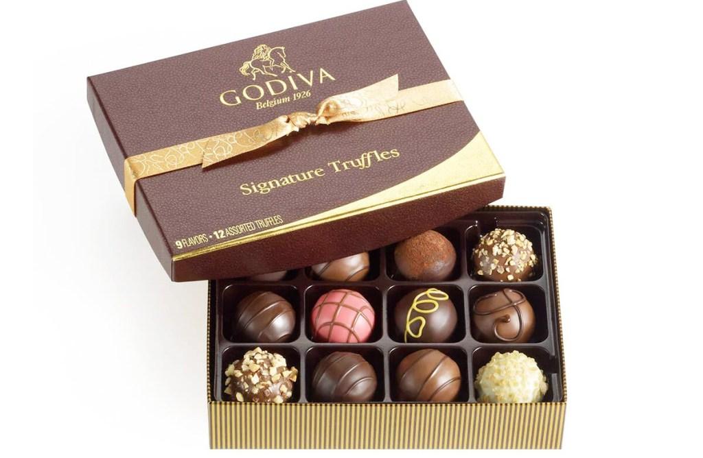 brown box of assorted godiva truffles