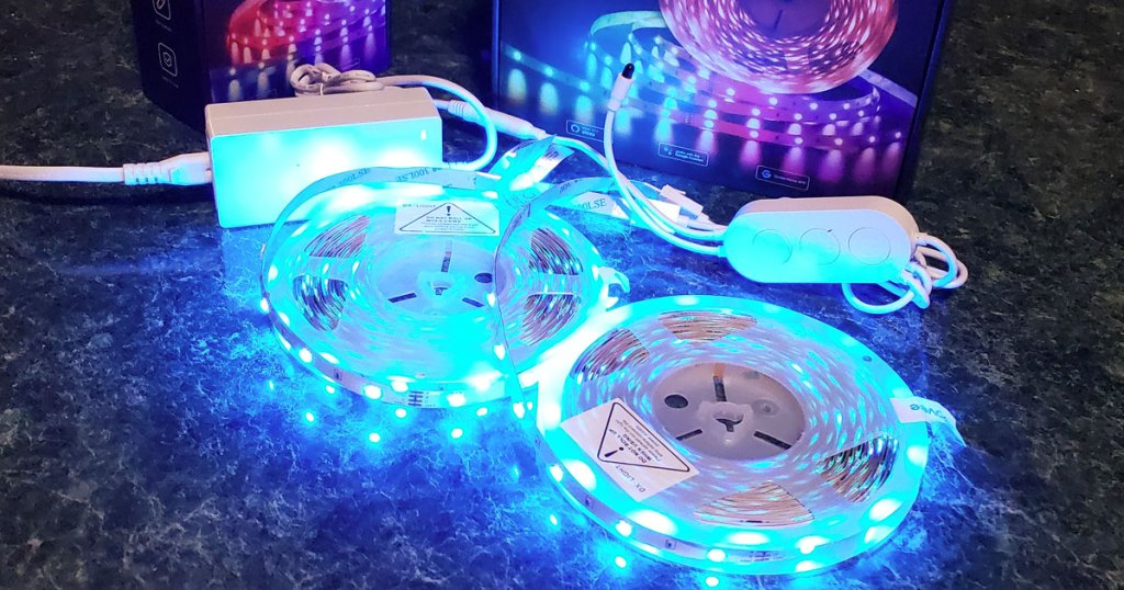 two rolls of led color changing light strips in blue color