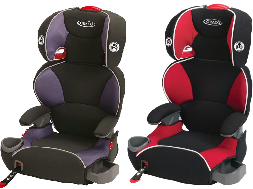 purple and black car seat and red and black car seat