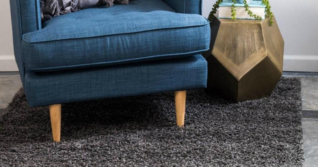 Granite Gray Loom Rug under blue chair