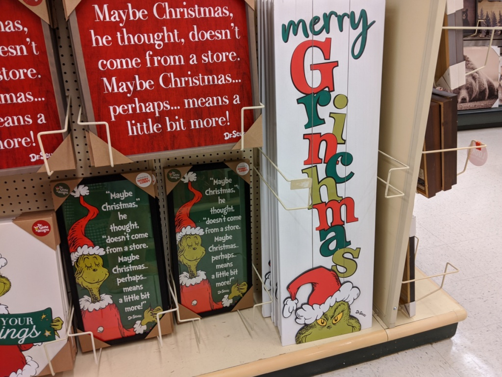Grinch Christmas wall decor in store