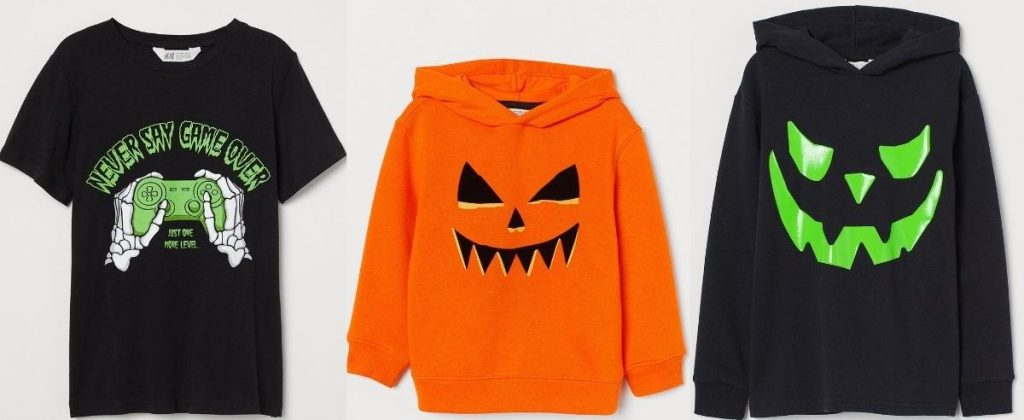T-shirt and two hoodies with Halloween Prints