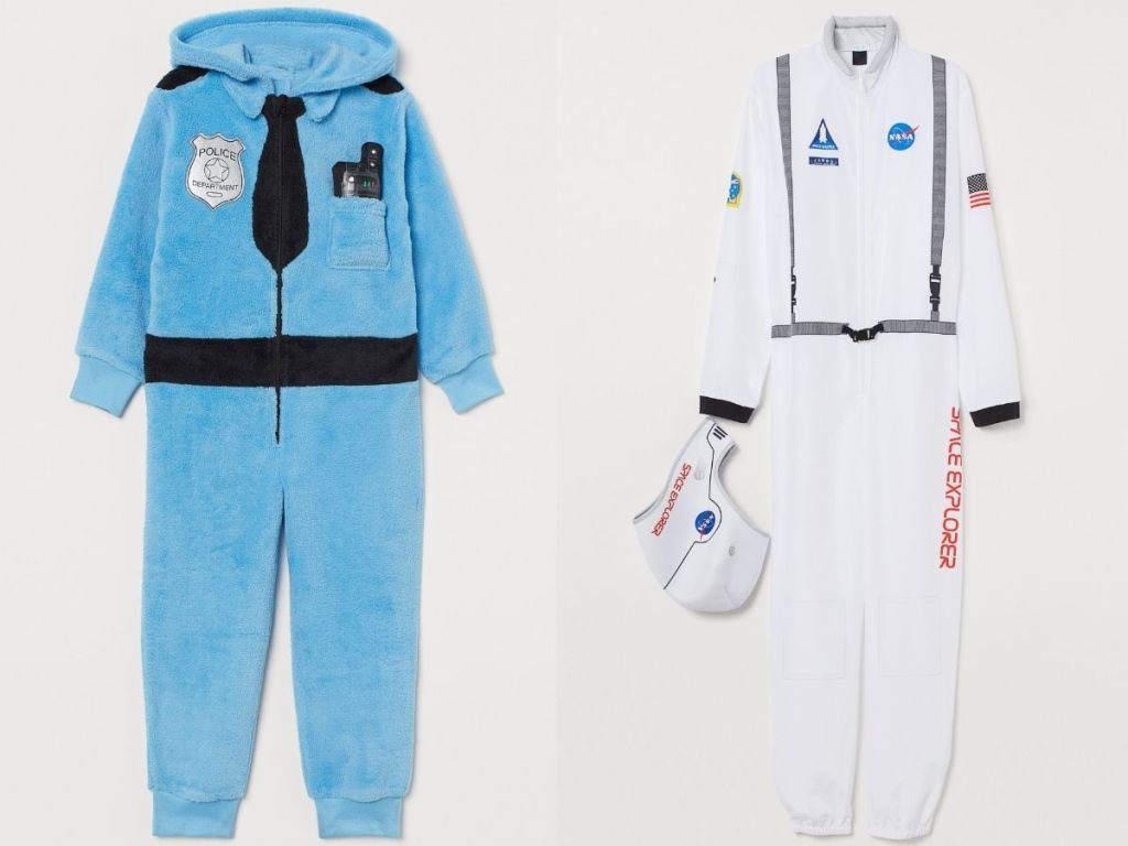 a police halloween costume and astronaut costume for kids