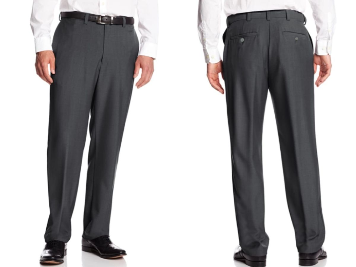 front and back view of mens gray dress pants