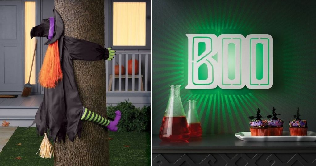 Halloween witch and Boo sign