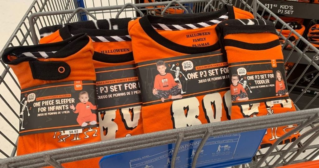 Halloween Family pajamas at Walmart in front of a shopping cart