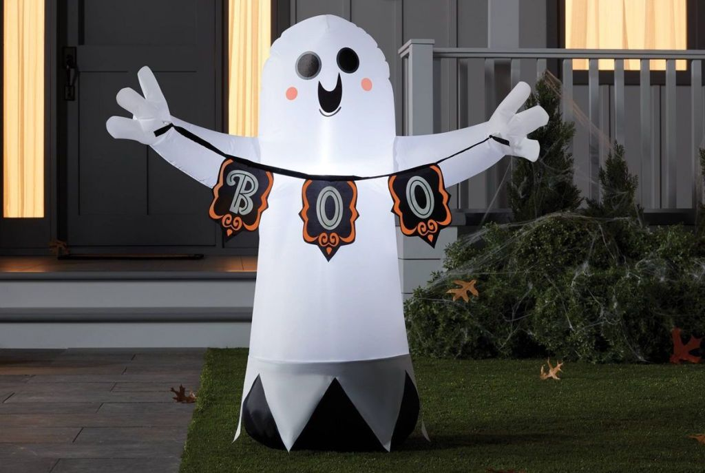 inflatable ghost in a yard
