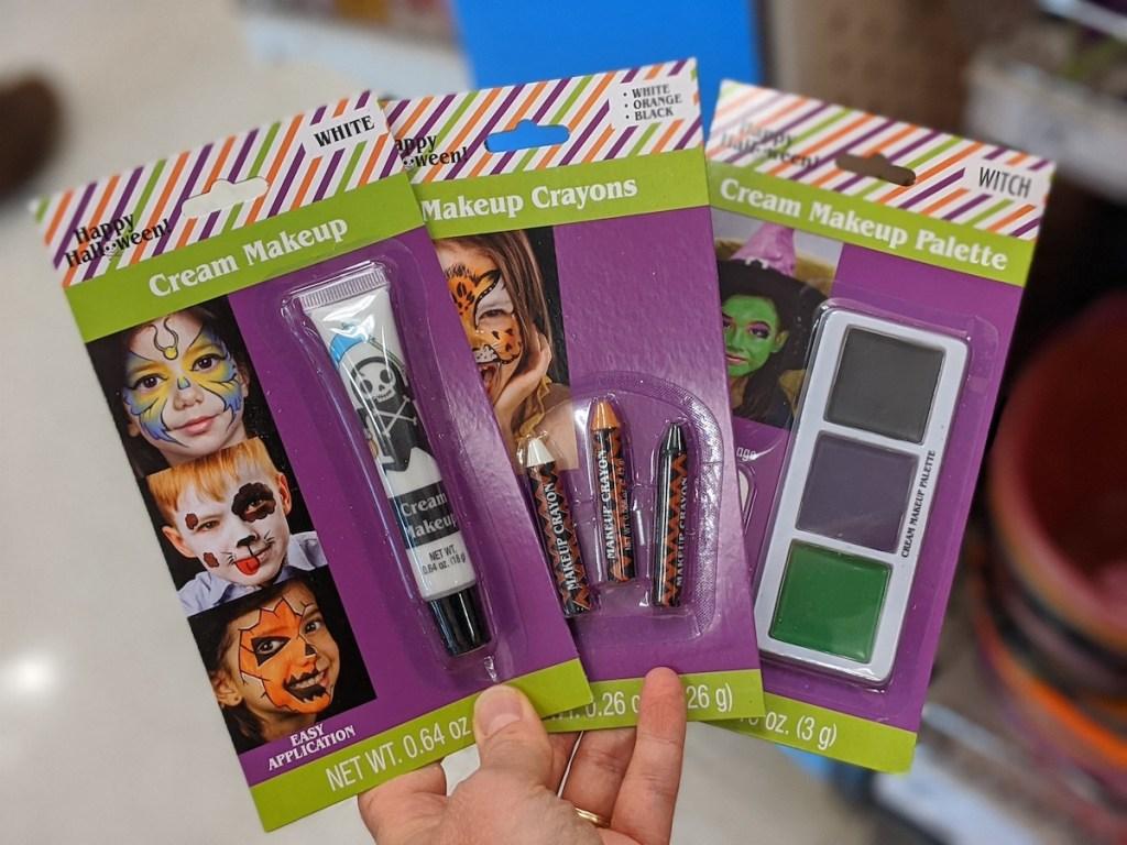 three packs of halloween makeup at target