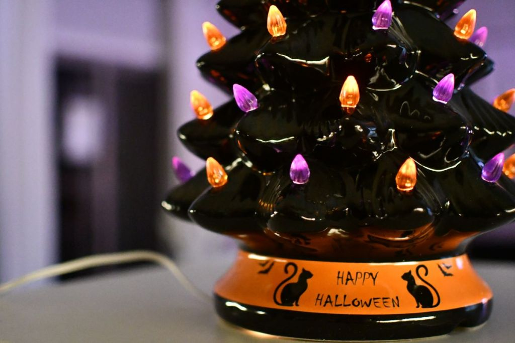 close-up view of the base of a ceramic Halloween tree