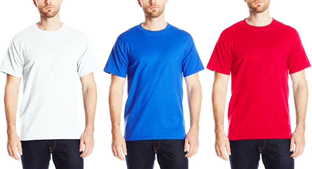 three men modeling basic hanes short-sleeve t-shirts in white, blue, and red colors