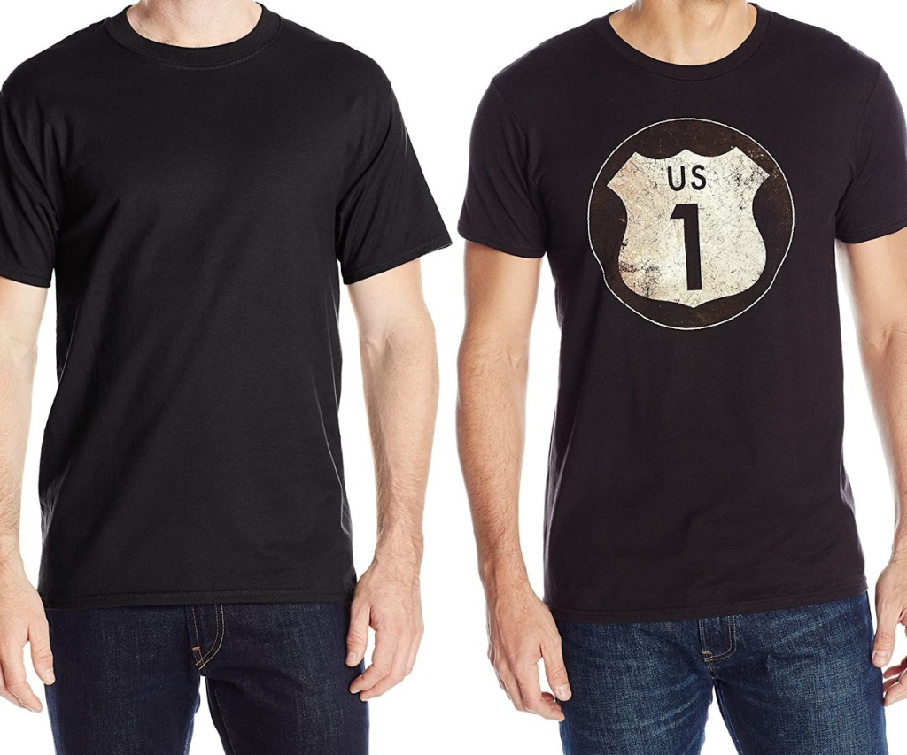 man in black tee and man in black graphic tee