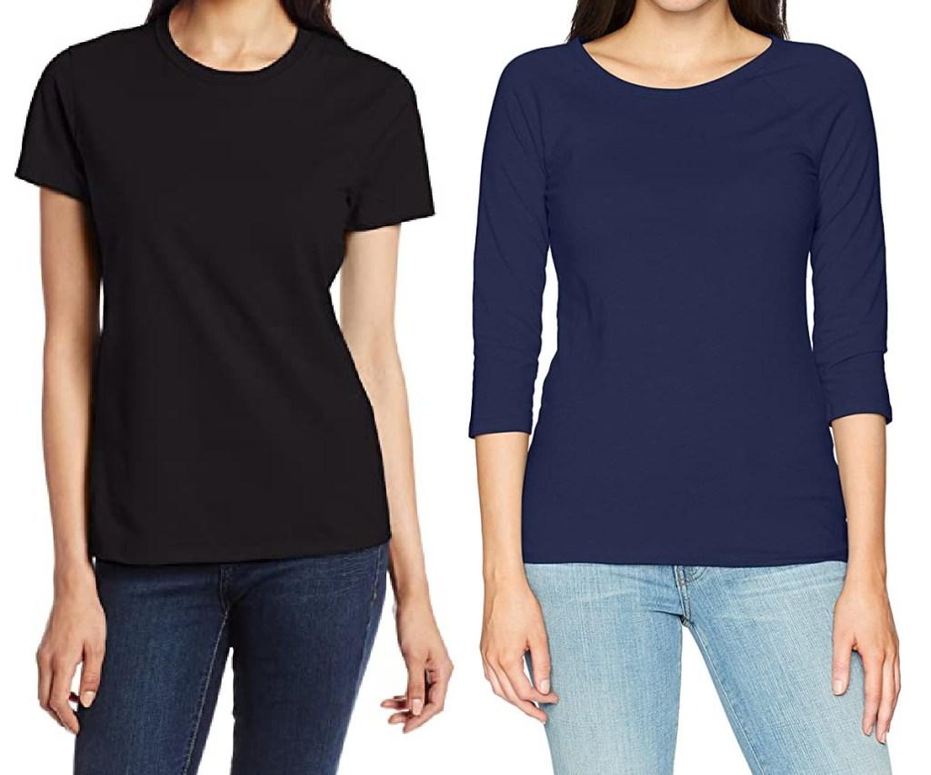 woman in black tee and woman in blue long sleeve tee