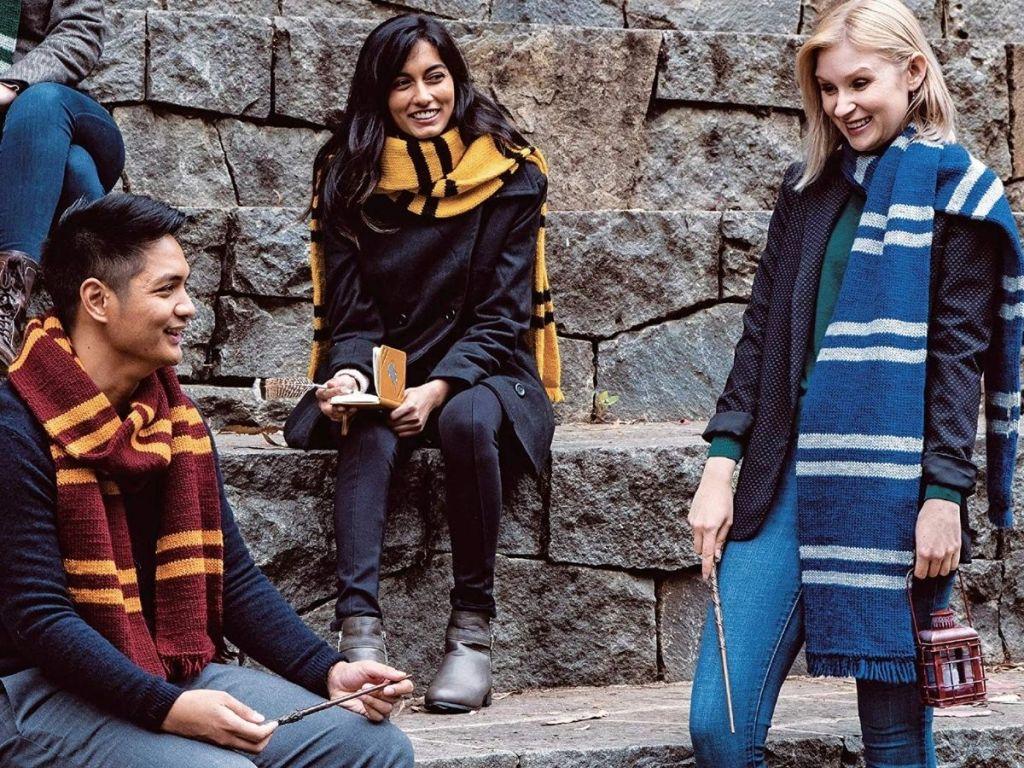 kids with harry potter scarves