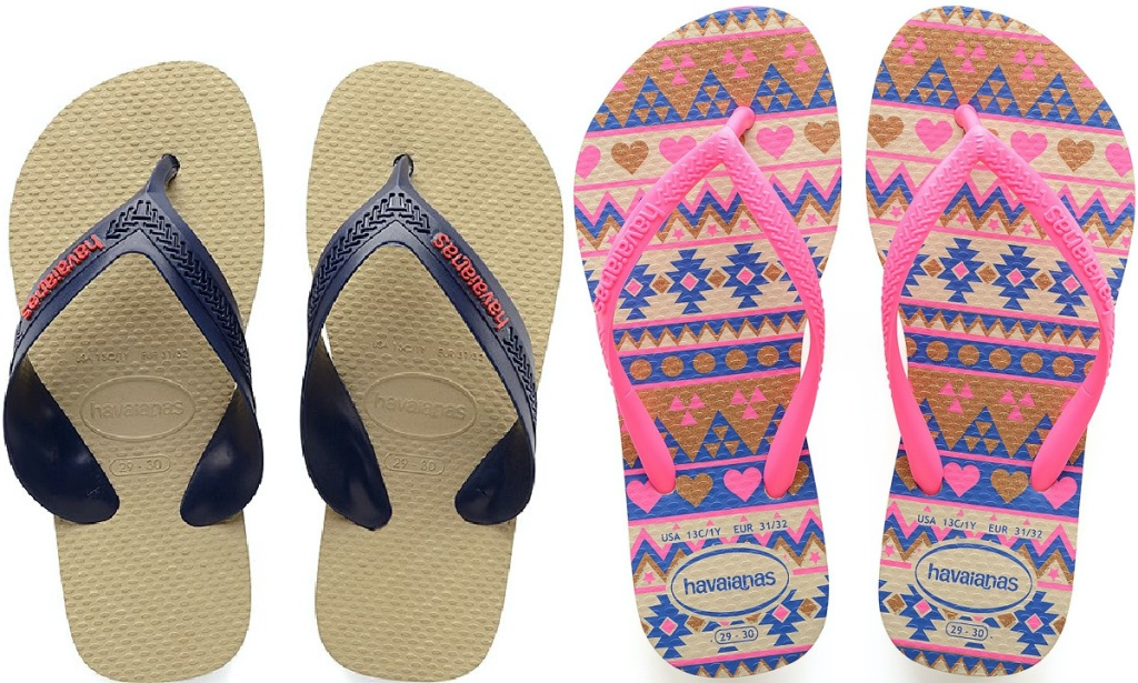 kids tan flip flops and kids pink and purple geometric pattern flip flops