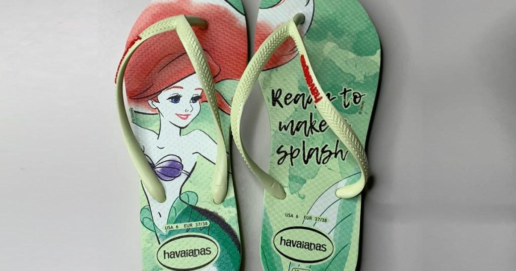 women's green Ariel flip flops
