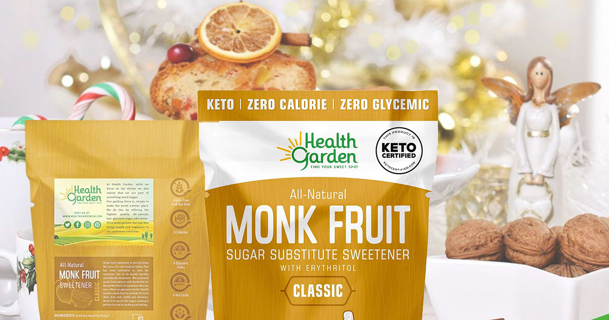 brown and white bag of monk fruit sweetener in front of christmas baked goods