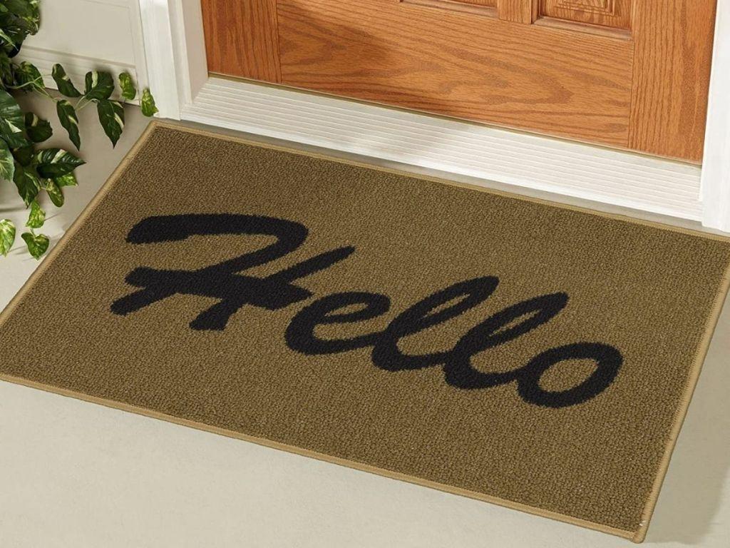 """Doormat that says """"Hello"""""""