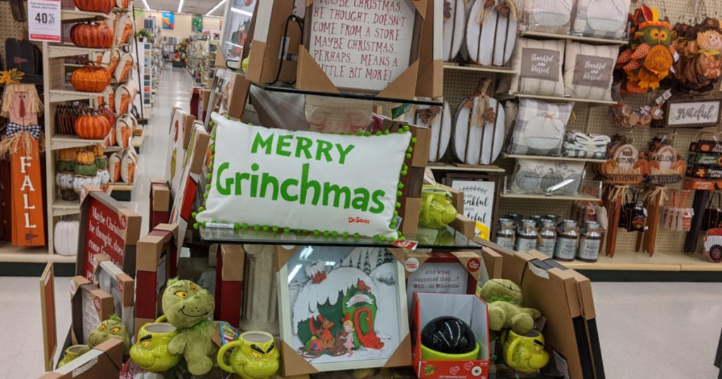 Grinch and Christmas decor on display in store at Hobby Lobby