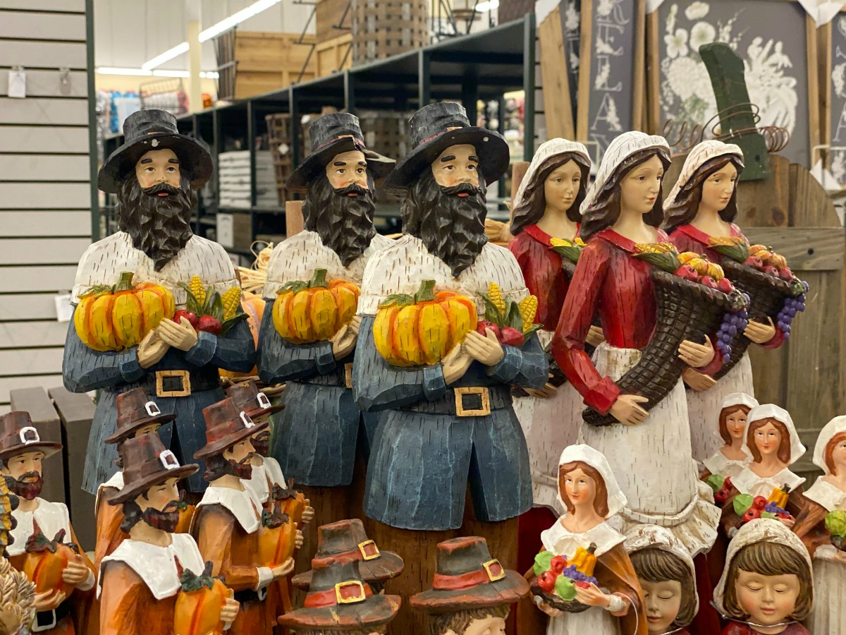 Pilgrim decorations on display in-store