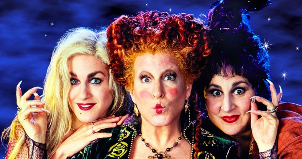 the three Sanderson Sisters from Hocus Pocus