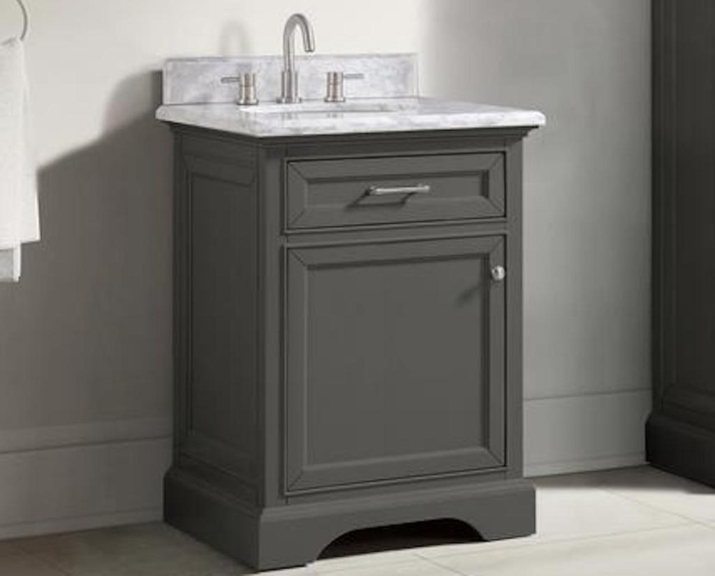 grey Home Decorators Collection Bath Vanity in Gray with Carrara Marble Vanity Top in White with White Sink