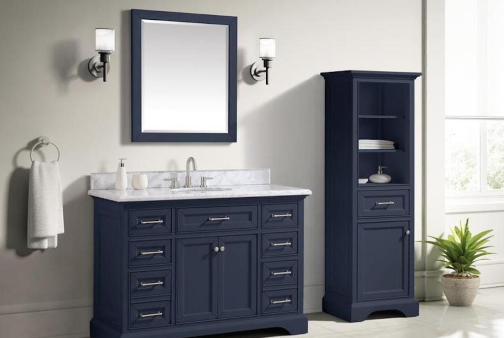 bathroom with Home Decorators Collection Navy Bathroom Vanity Mirror