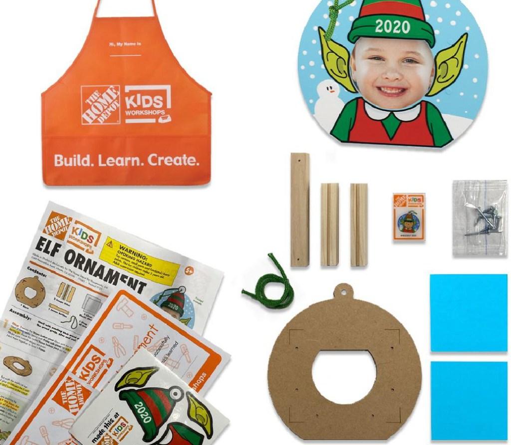 Home Depot Elf Ornament Set