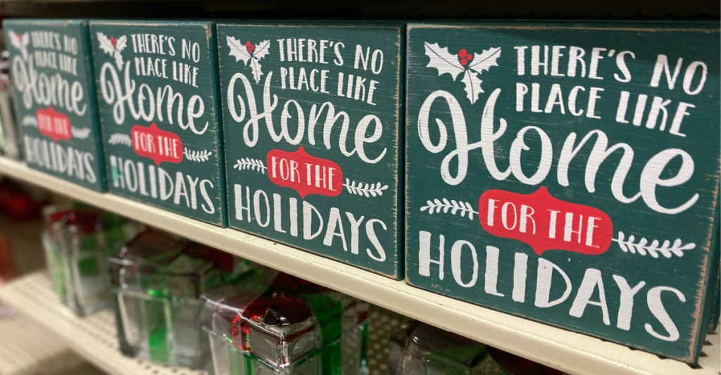 wood holiday decor on store shelf