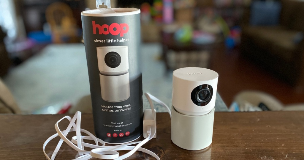 Hoop home security system with cords and packaging