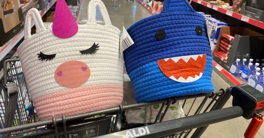 unicorn style rope bin and shark style rope bin in store cart