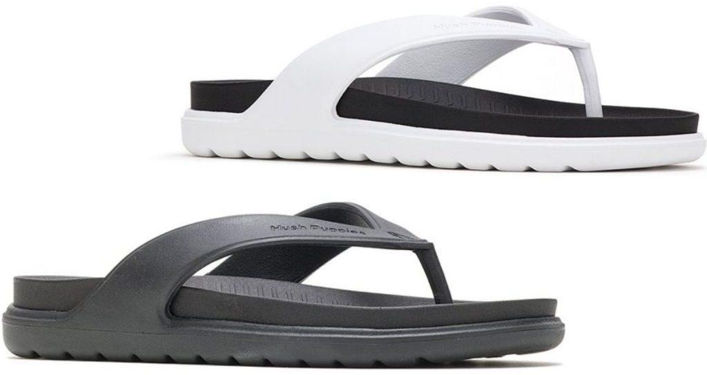 two rubber flip flops
