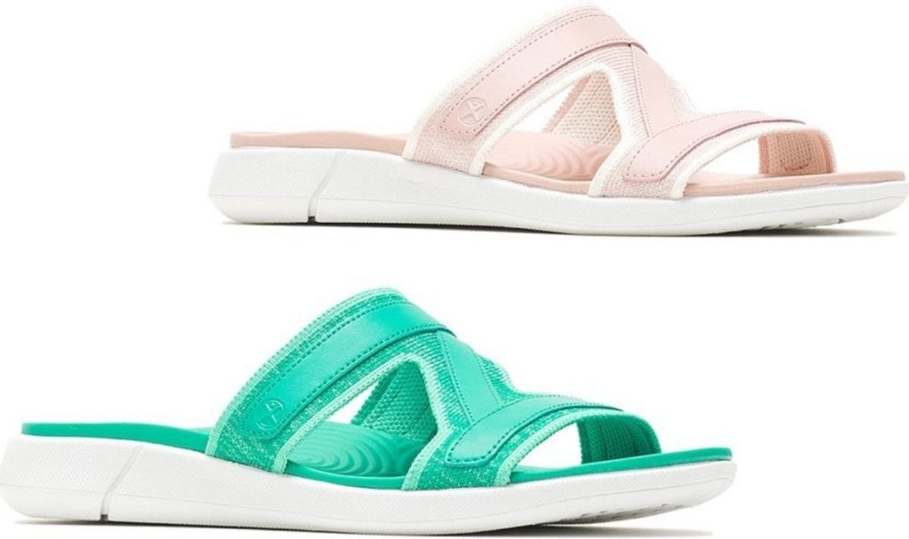two slide style womens sandals