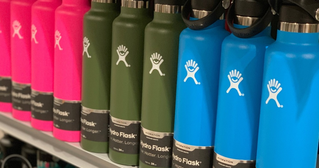 pink, green and blue hydro flask water bottles sitting on store shelf