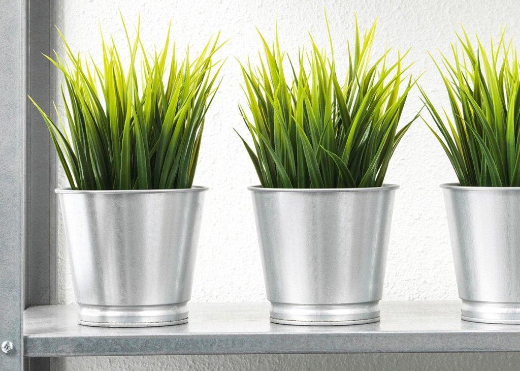 three artificial grass plants inside silver metal pots