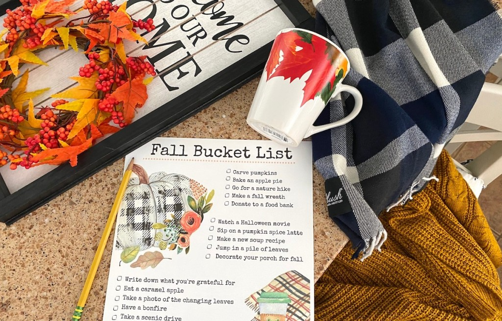 fall bucket list on table with pencil