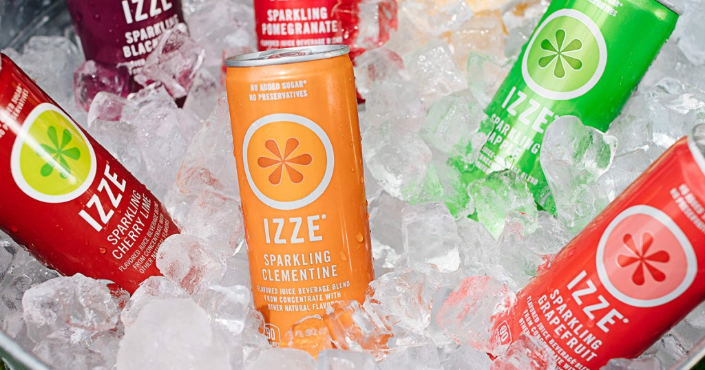 IZZE Sparkling Juice Cans sitting in a large bucket full of ice