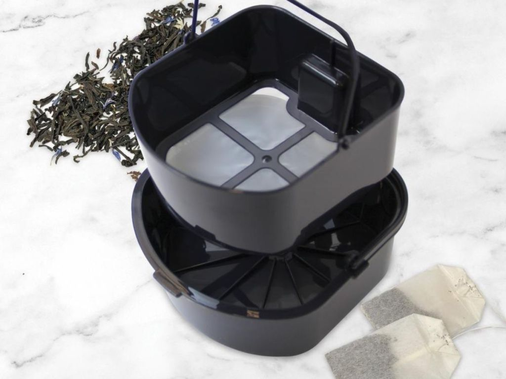 Iced Tea Maker Brewing Basket next to loose leaf tea and bags